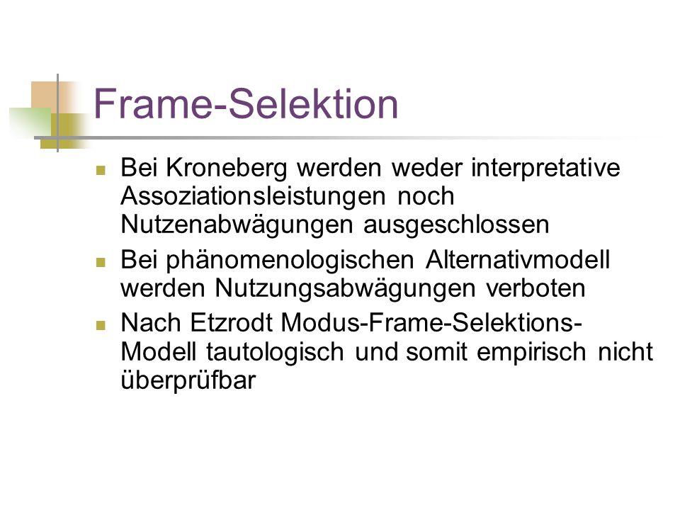 Frame-Selektion Bei Kroneberg werden weder interpretative Assoziationsleistungen noch Nutzenabwägungen ausgeschlossen.