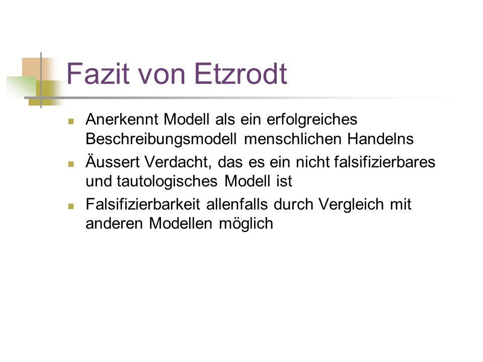 Fazit von Etzrodt Anerkennt Modell als ein erfolgreiches Beschreibungsmodell menschlichen Handelns.