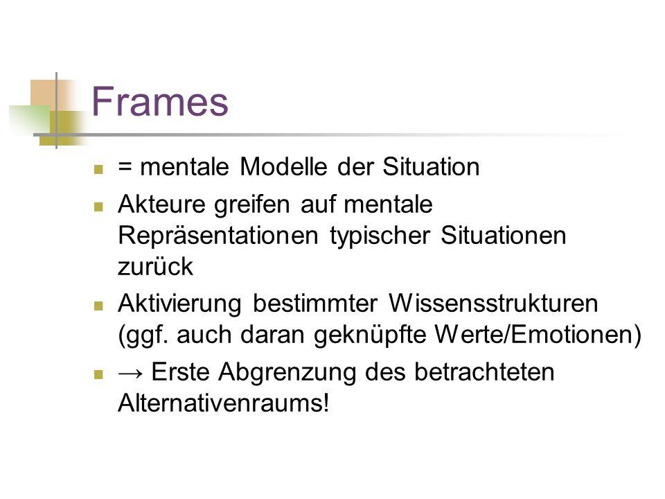 Frames = mentale Modelle der Situation