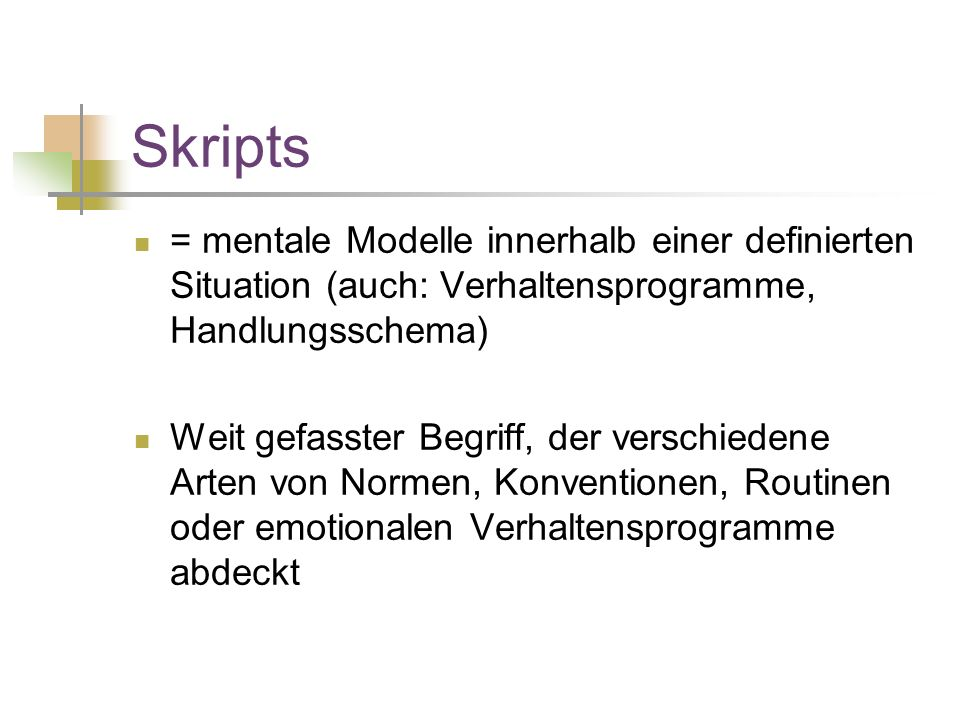 Skripts = mentale Modelle innerhalb einer definierten Situation (auch: Verhaltensprogramme, Handlungsschema)