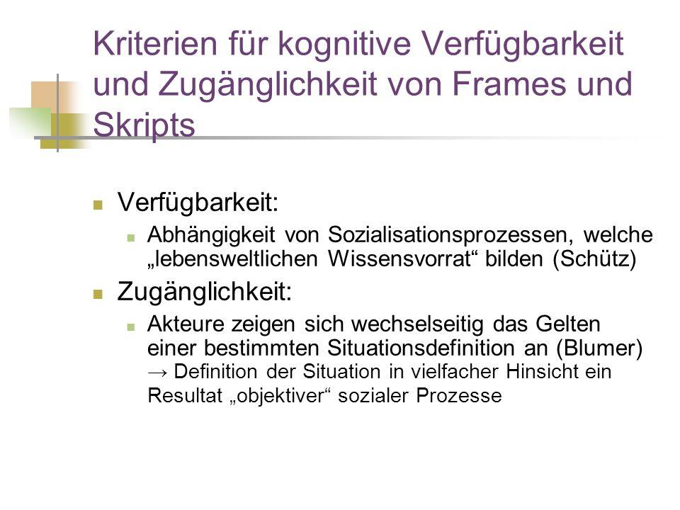 Kriterien für kognitive Verfügbarkeit und Zugänglichkeit von Frames und Skripts