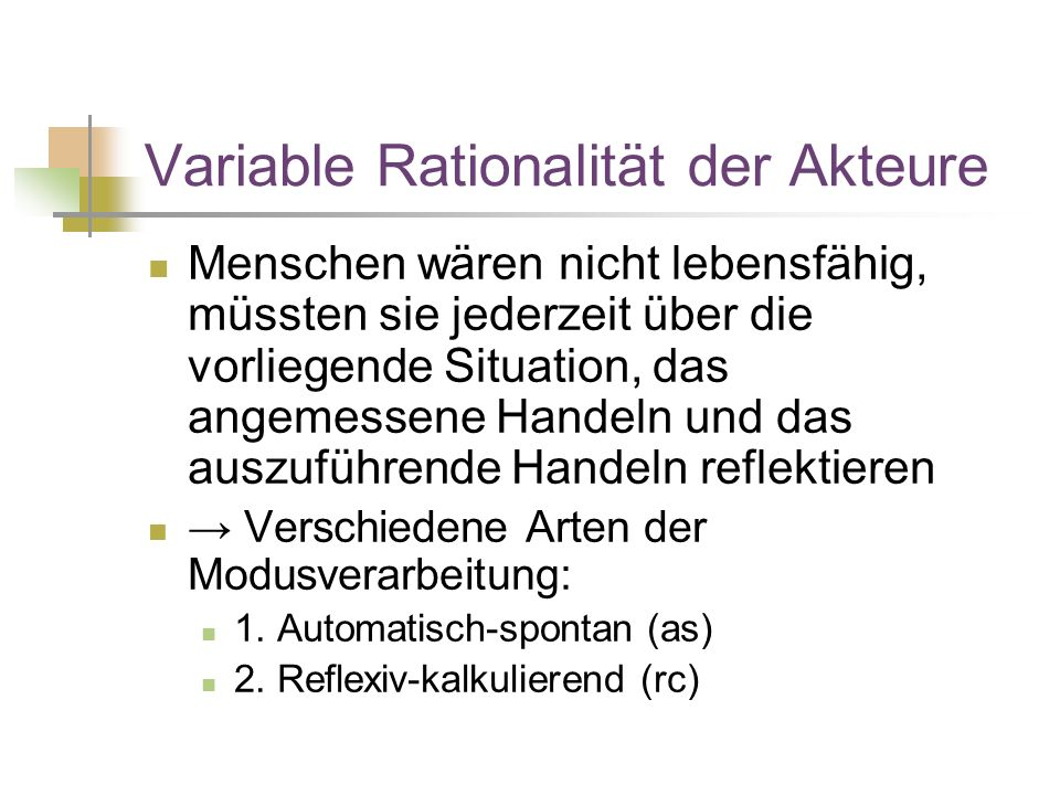 Variable Rationalität der Akteure