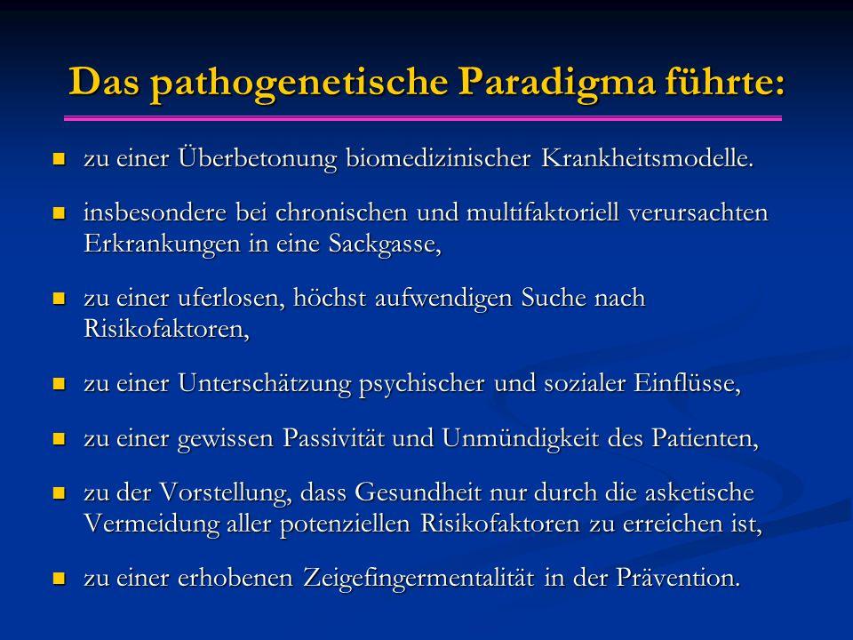 Das pathogenetische Paradigma führte:
