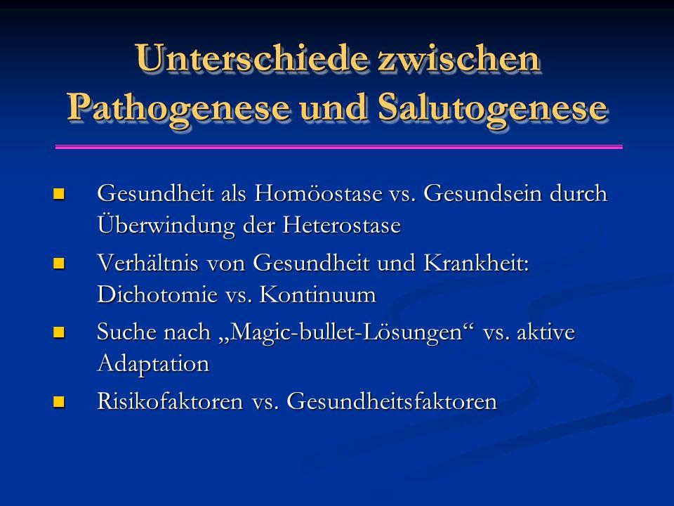 Unterschiede zwischen Pathogenese und Salutogenese