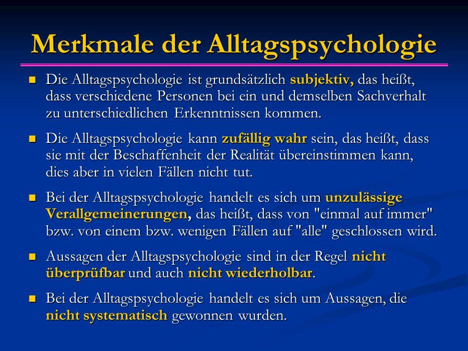 Merkmale der Alltagspsychologie