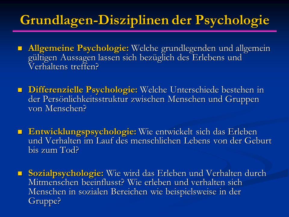 Grundlagen-Disziplinen der Psychologie