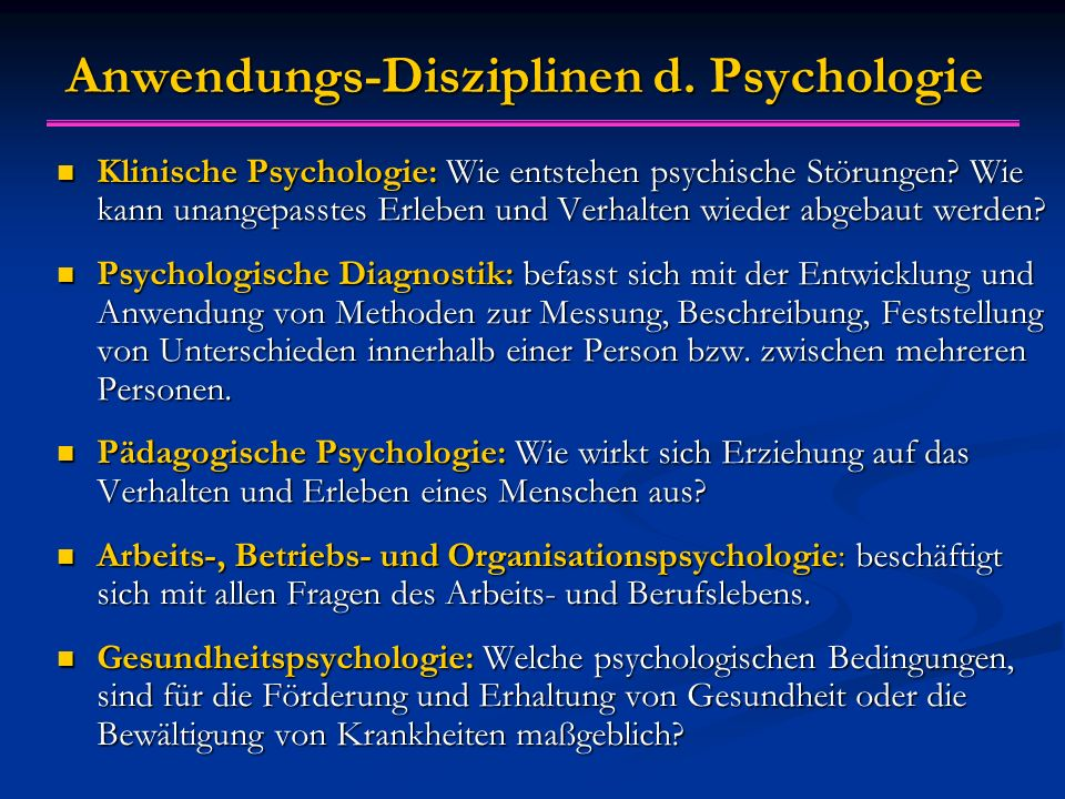 Anwendungs-Disziplinen d. Psychologie