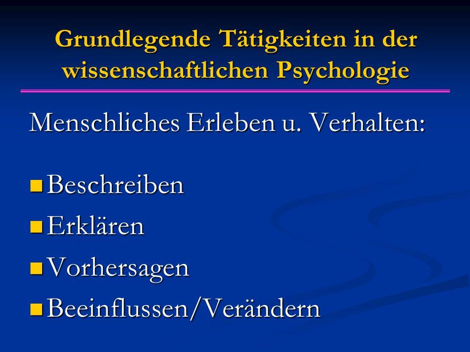 Grundlegende Tätigkeiten in der wissenschaftlichen Psychologie