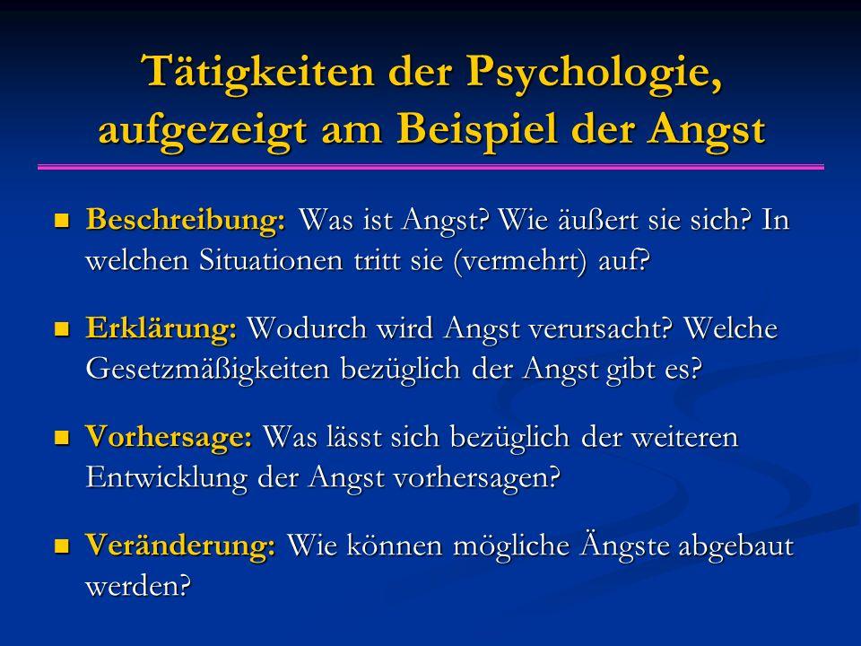 Tätigkeiten der Psychologie, aufgezeigt am Beispiel der Angst