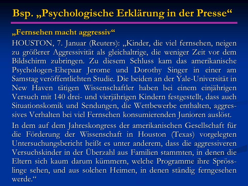 """Bsp. """"Psychologische Erklärung in der Presse"""