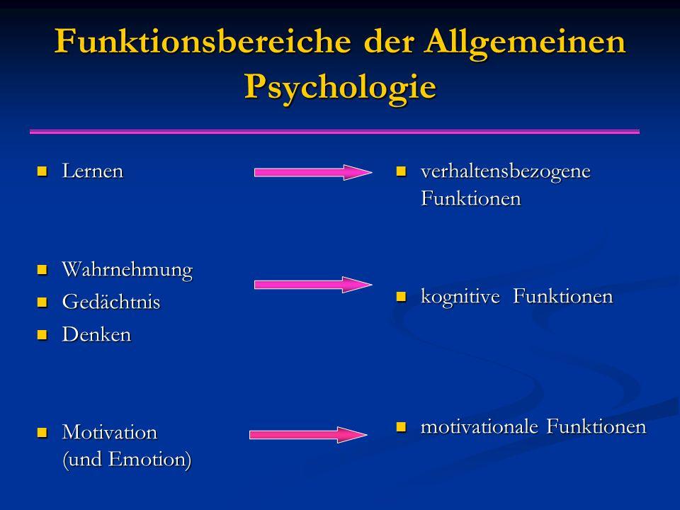Funktionsbereiche der Allgemeinen Psychologie