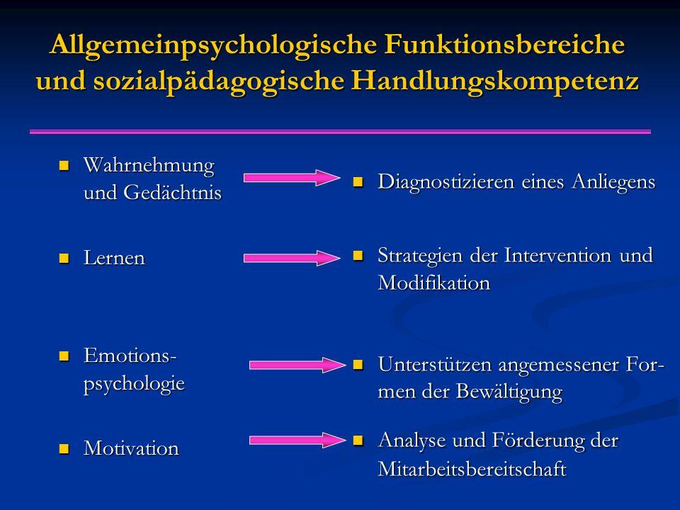 Allgemeinpsychologische Funktionsbereiche und sozialpädagogische Handlungskompetenz