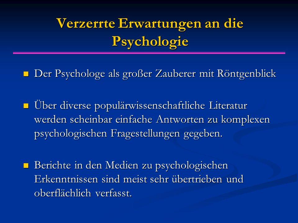 Verzerrte Erwartungen an die Psychologie