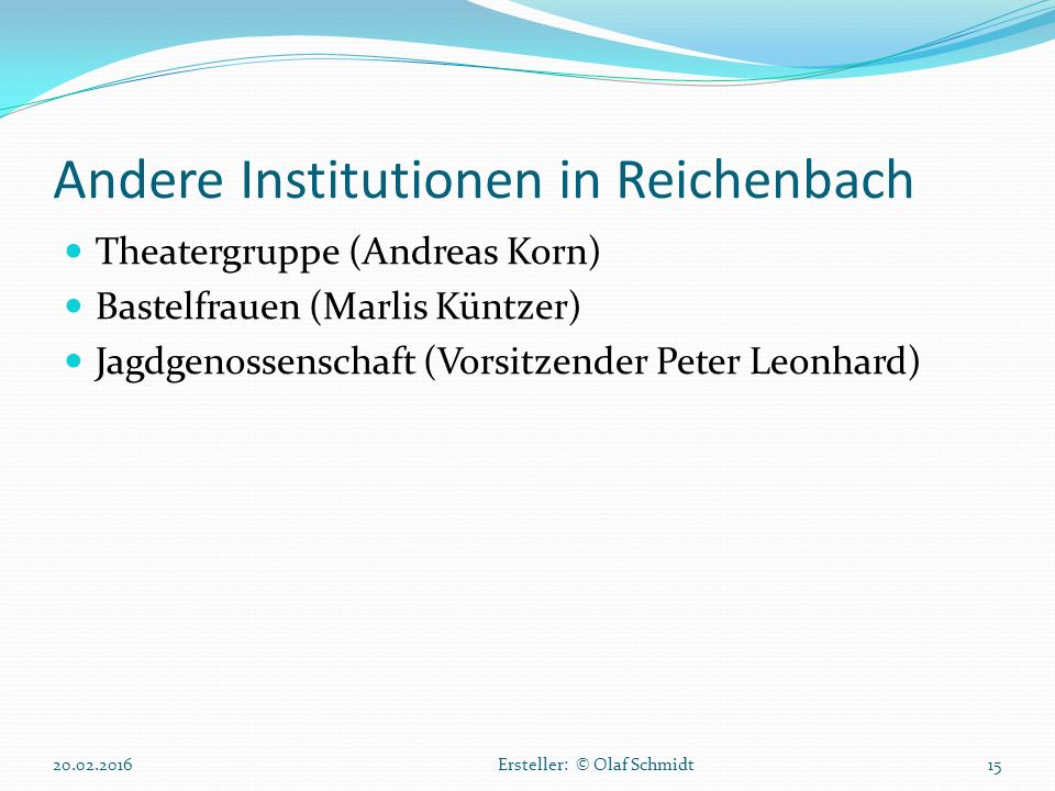 Andere Institutionen in Reichenbach