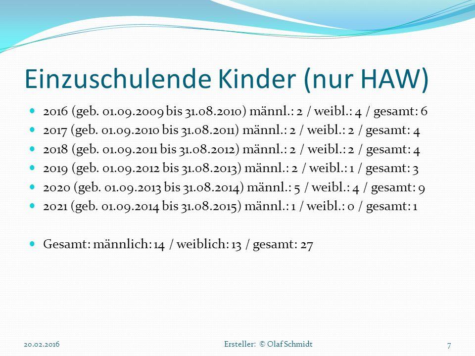 Einzuschulende Kinder (nur HAW)