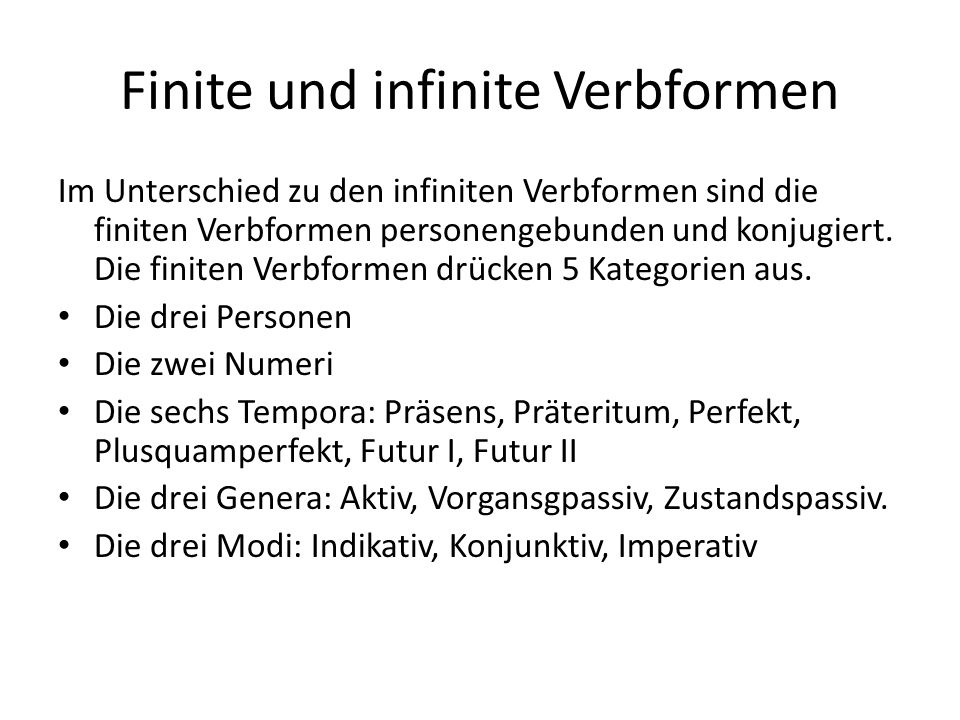 Finite und infinite Verbformen