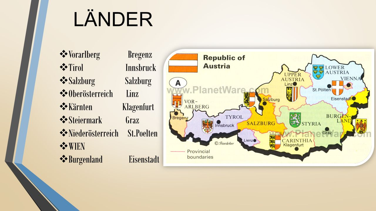 LÄNDER Vorarlberg Bregenz Tirol Innsbruck Salzburg Salzburg