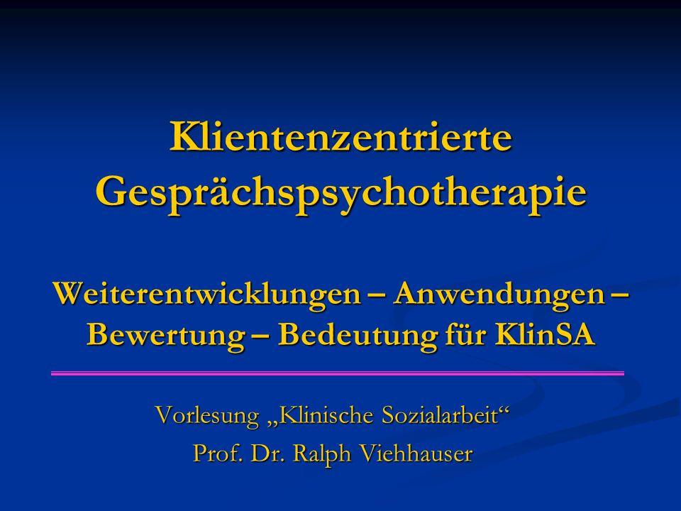 """Vorlesung """"Klinische Sozialarbeit Prof. Dr. Ralph Viehhauser"""