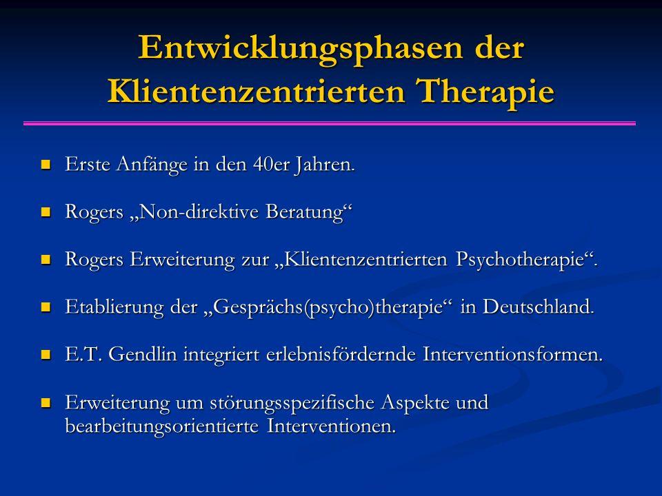 Entwicklungsphasen der Klientenzentrierten Therapie