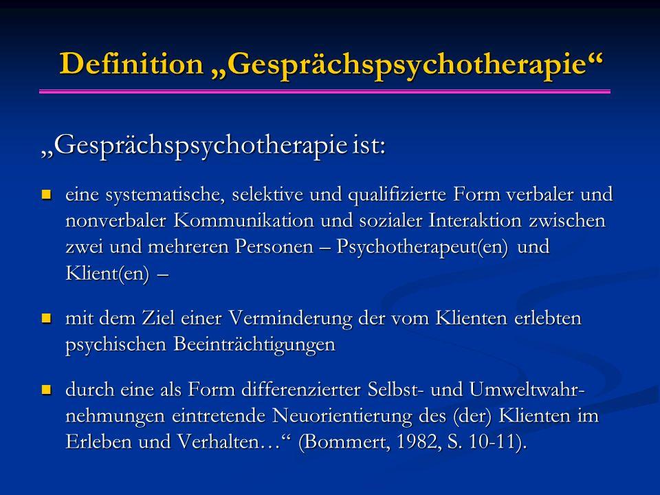 """Definition """"Gesprächspsychotherapie"""