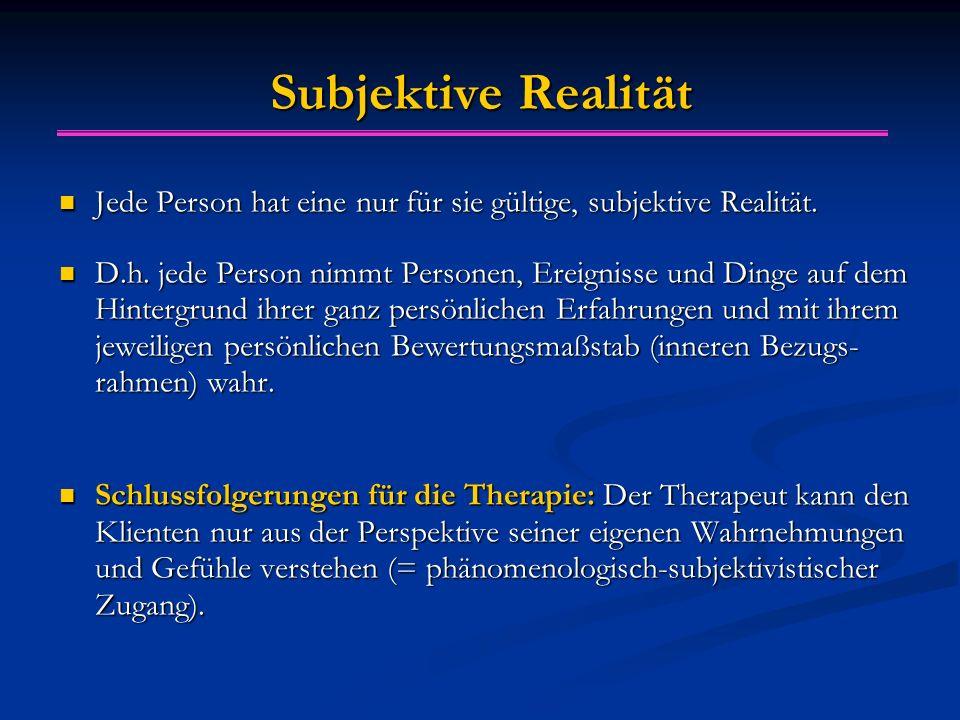 Subjektive Realität Jede Person hat eine nur für sie gültige, subjektive Realität.