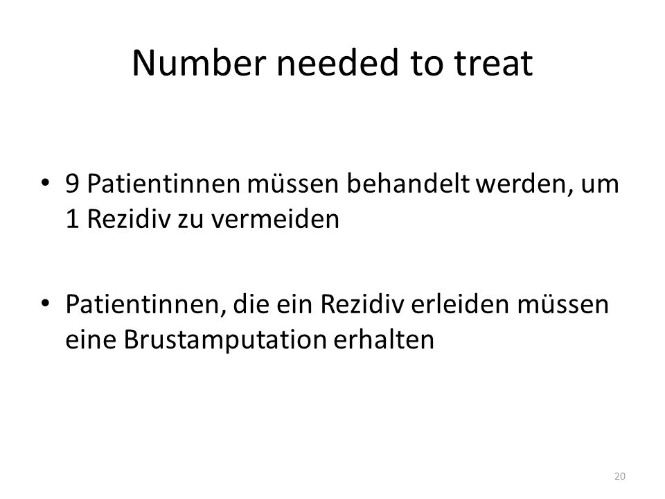 Number needed to treat 9 Patientinnen müssen behandelt werden, um 1 Rezidiv zu vermeiden.