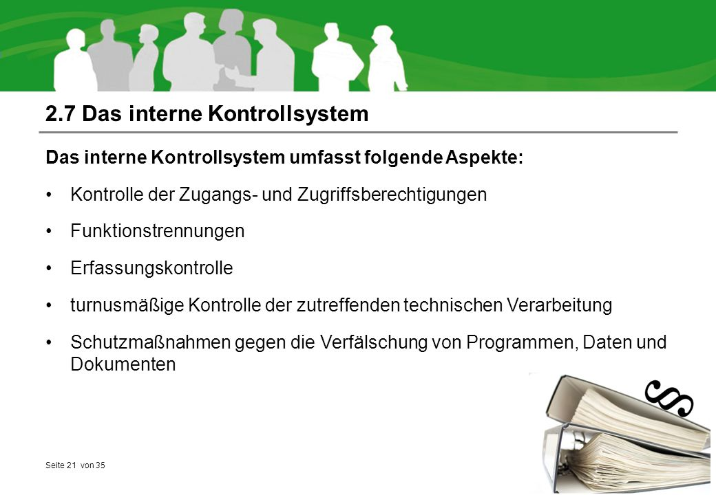 2.7 Das interne Kontrollsystem