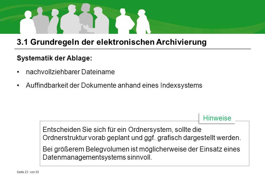 3.1 Grundregeln der elektronischen Archivierung