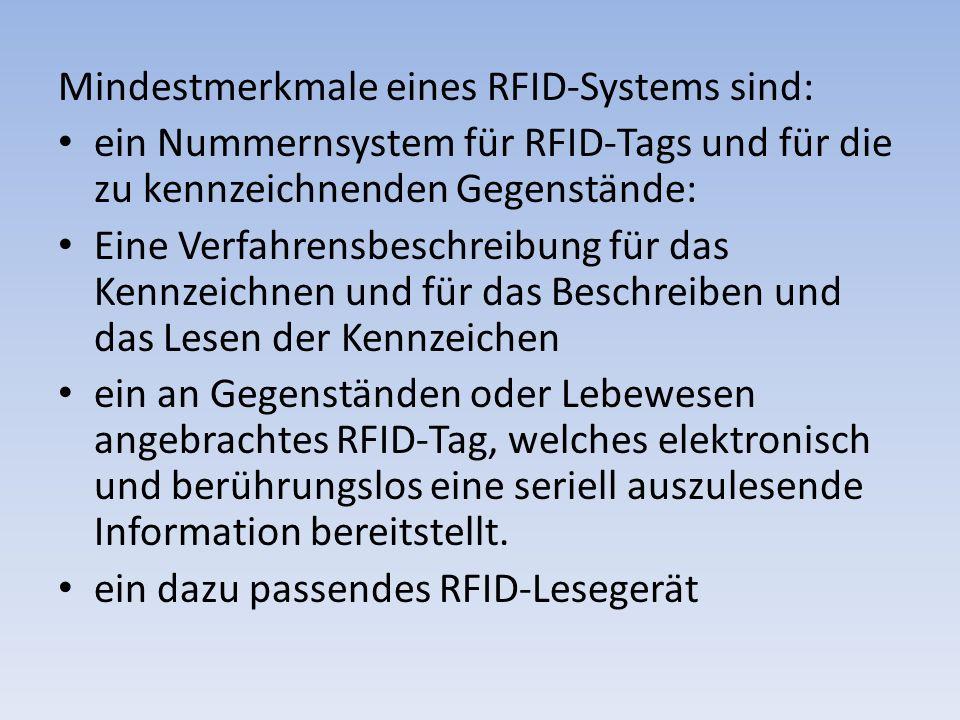 Mindestmerkmale eines RFID-Systems sind:
