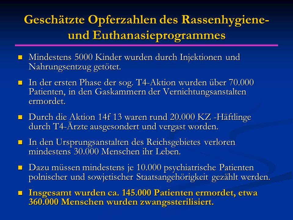 Geschätzte Opferzahlen des Rassenhygiene- und Euthanasieprogrammes