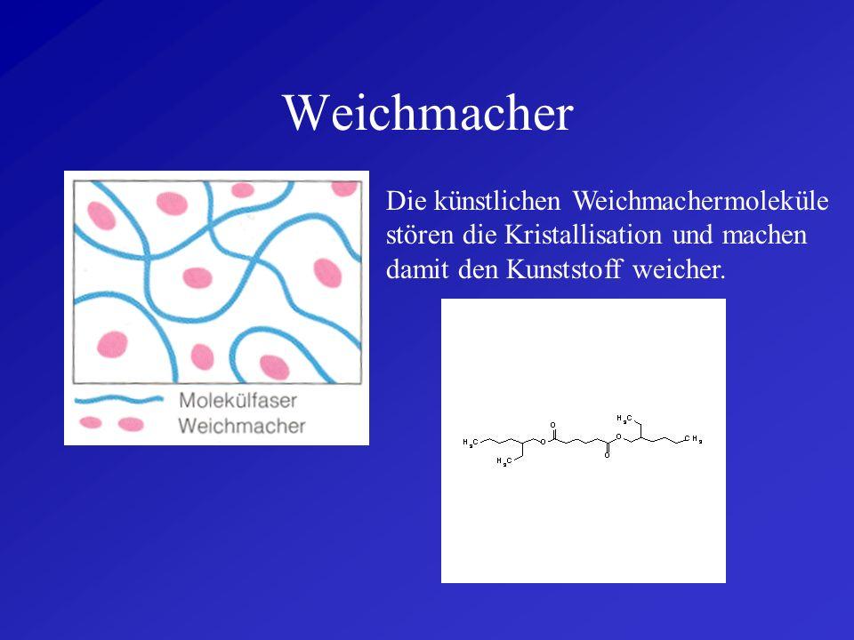 WeichmacherDie künstlichen Weichmachermoleküle stören die Kristallisation und machen damit den Kunststoff weicher.