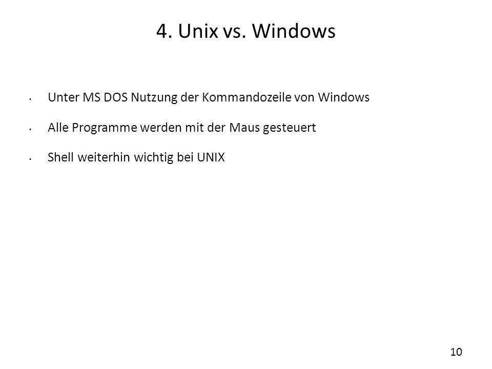 4. Unix vs. Windows Unter MS DOS Nutzung der Kommandozeile von Windows