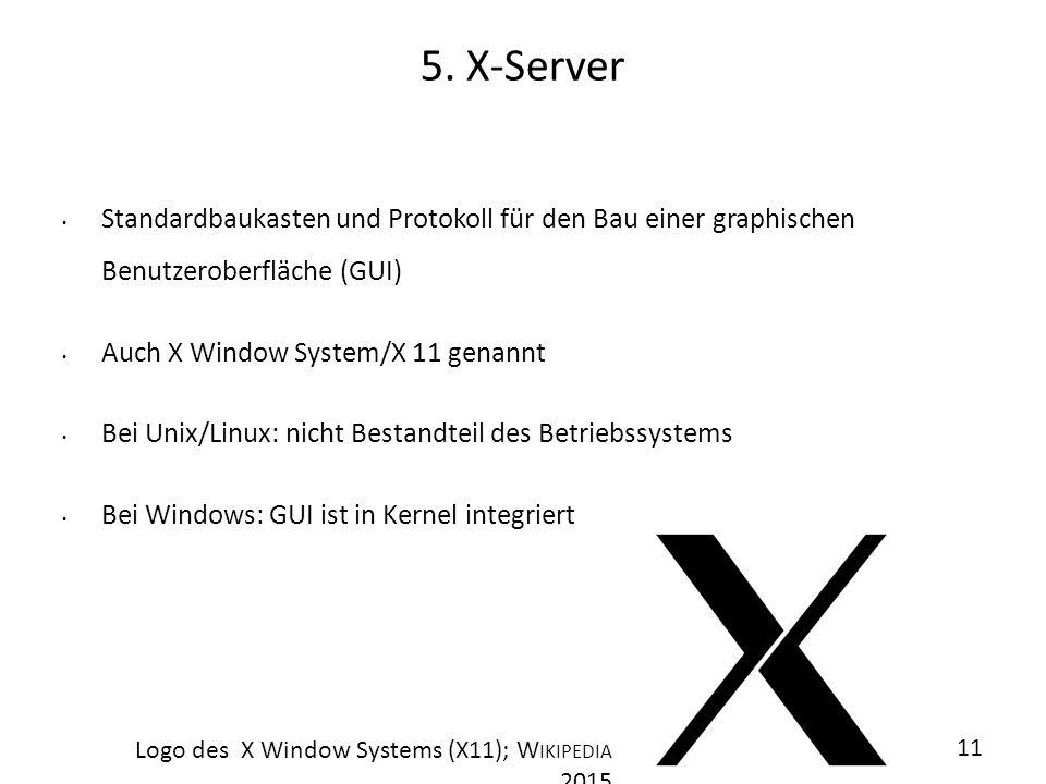 1111 5. X-Server. Standardbaukasten und Protokoll für den Bau einer graphischen Benutzeroberfläche (GUI)