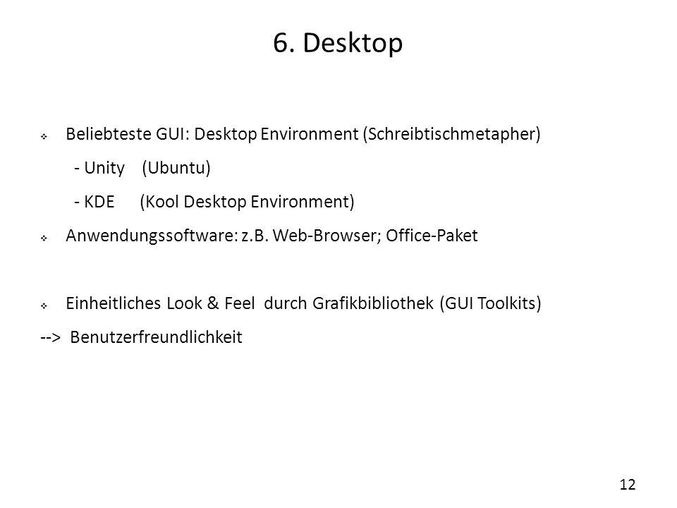 6. Desktop Beliebteste GUI: Desktop Environment (Schreibtischmetapher)