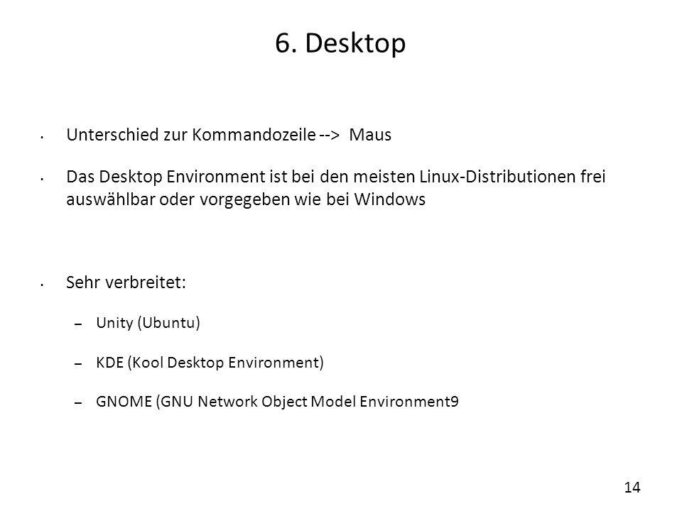 6. Desktop Unterschied zur Kommandozeile --> Maus