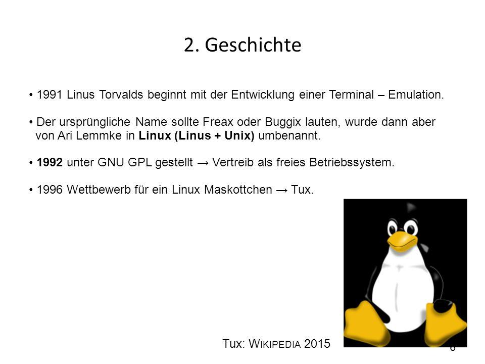 2. Geschichte • 1991 Linus Torvalds beginnt mit der Entwicklung einer Terminal – Emulation.