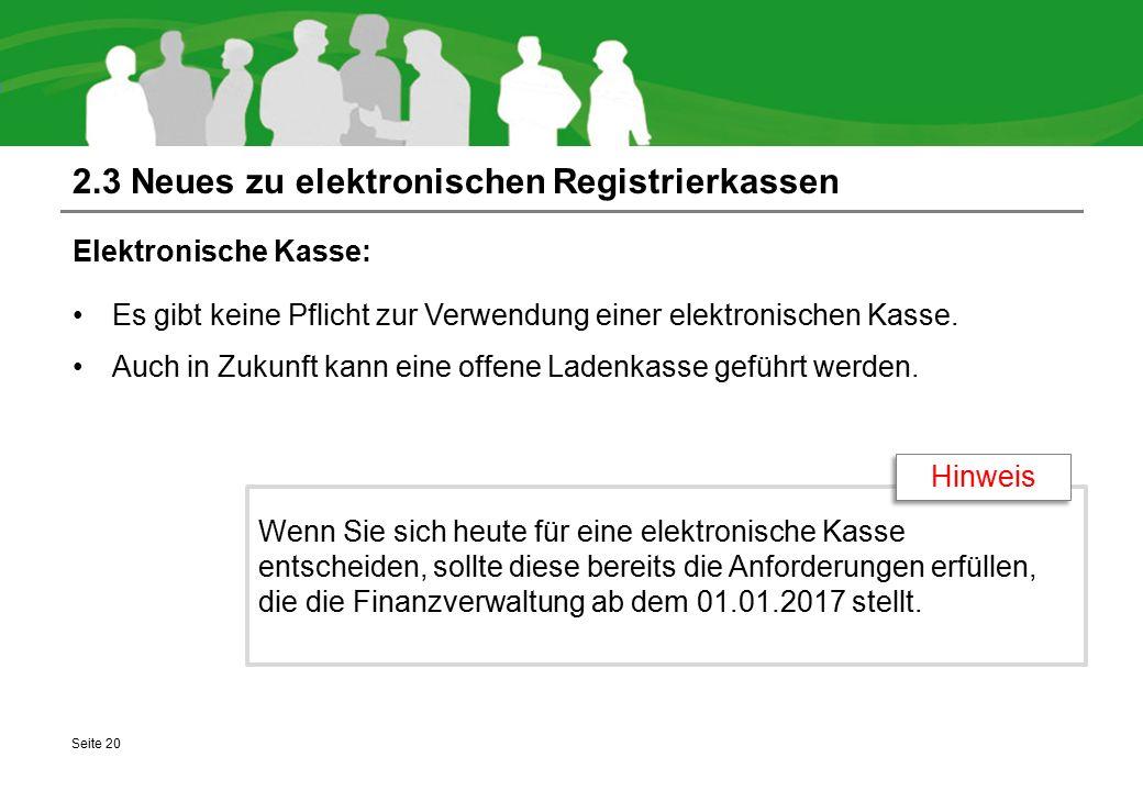2.3 Neues zu elektronischen Registrierkassen