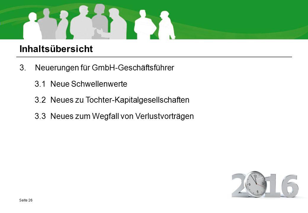 Inhaltsübersicht 3.1 Neuerungen für GmbH-Geschäftsführer
