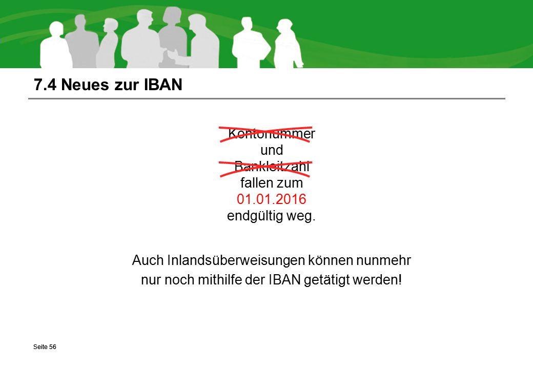 7.4 Neues zur IBAN Kontonummer und Bankleitzahl fallen zum 01.01.2016