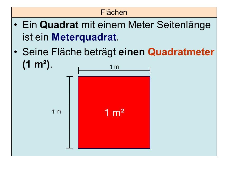 Ein Quadrat mit einem Meter Seitenlänge ist ein Meterquadrat.