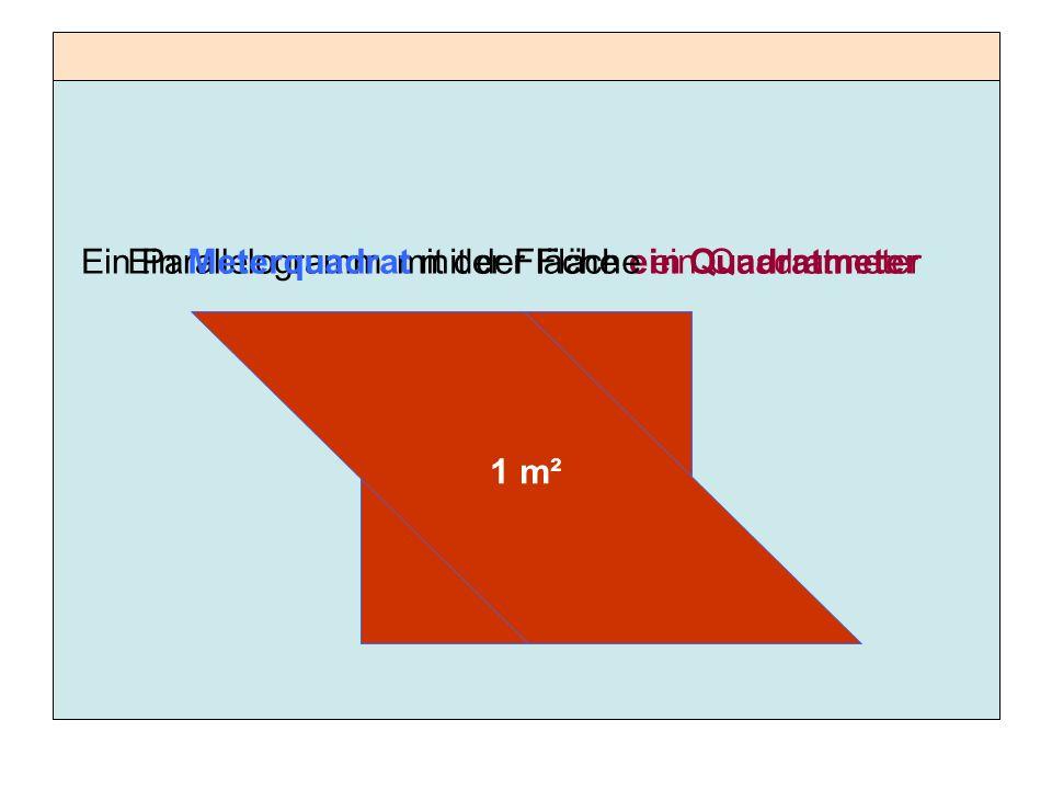 Ein Parallelogramm mit der Fläche ein Quadratmeter