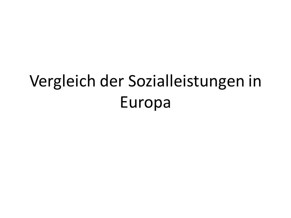 Vergleich der Sozialleistungen in Europa
