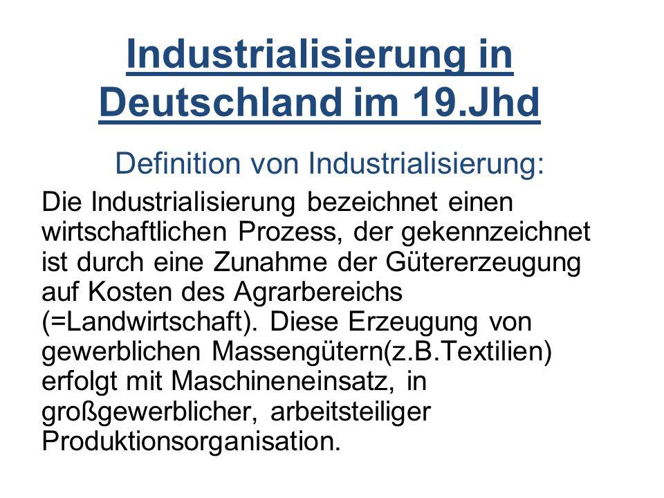 Industrialisierung in Deutschland im 19.Jhd
