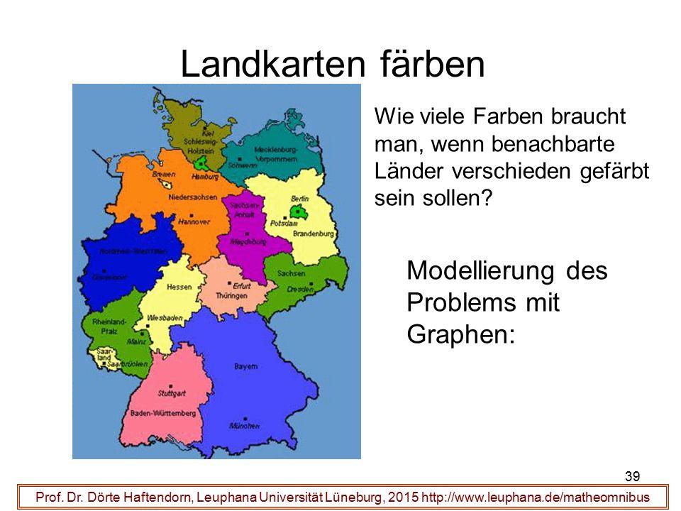 Landkarten färben Modellierung des Problems mit Graphen:
