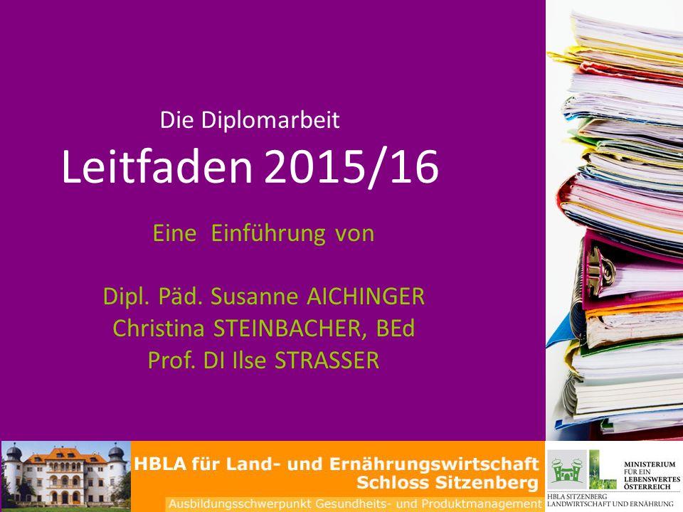 Die Diplomarbeit Leitfaden 2015/16