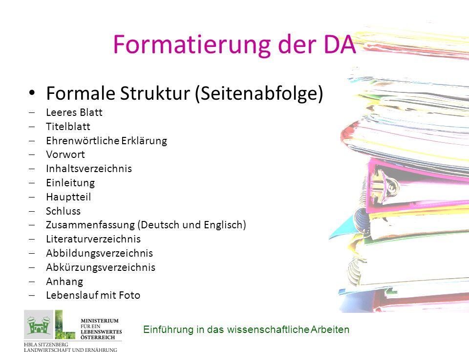 Formatierung der DA Formale Struktur (Seitenabfolge) Leeres Blatt