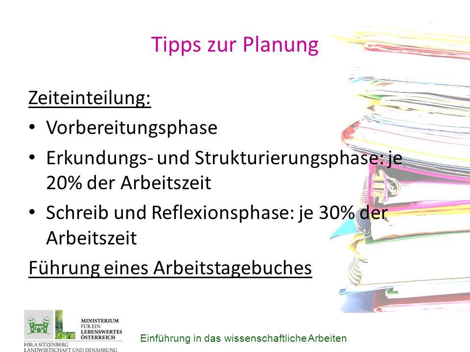 Tipps zur Planung Zeiteinteilung: Vorbereitungsphase