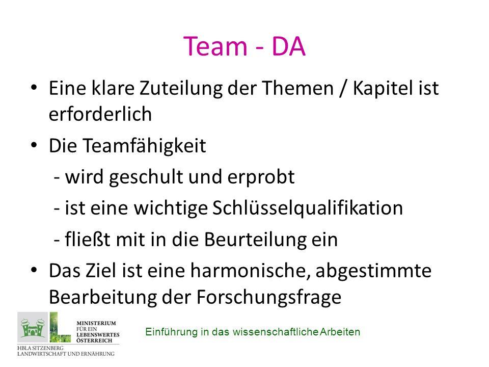 Team - DA Eine klare Zuteilung der Themen / Kapitel ist erforderlich