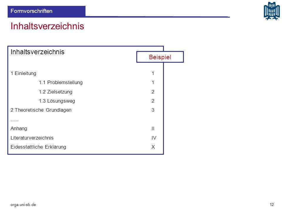 Inhaltsverzeichnis Inhaltsverzeichnis Beispiel Formvorschriften
