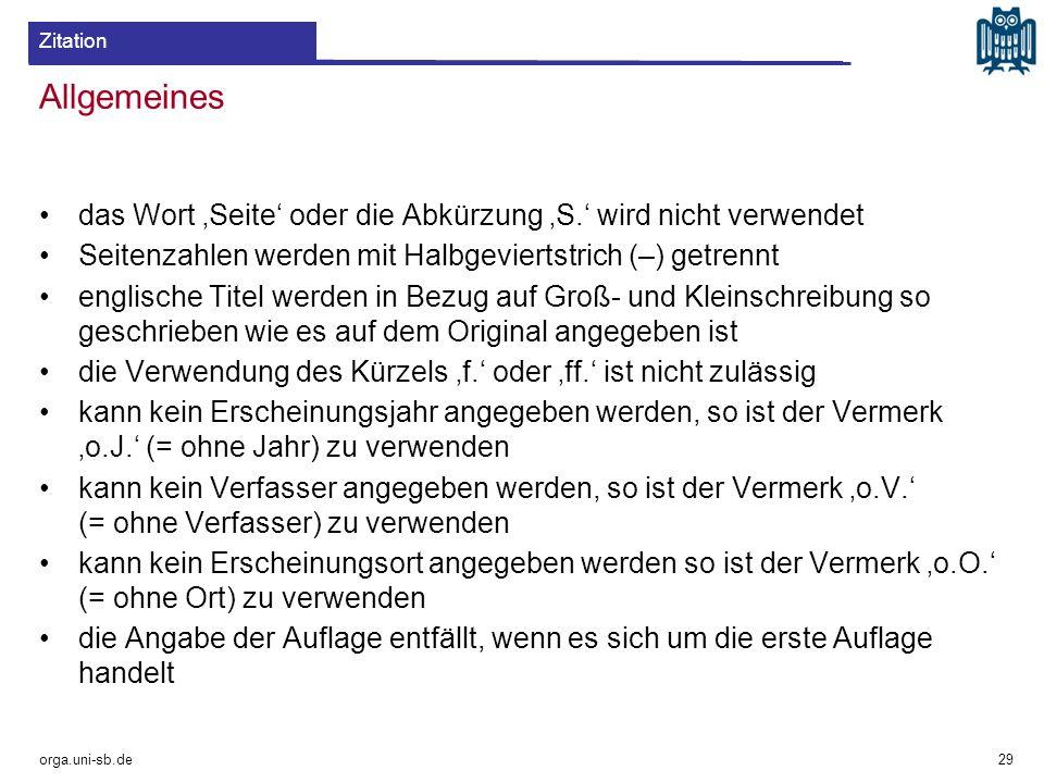 Zitation Allgemeines. das Wort 'Seite' oder die Abkürzung 'S.' wird nicht verwendet. Seitenzahlen werden mit Halbgeviertstrich (–) getrennt.